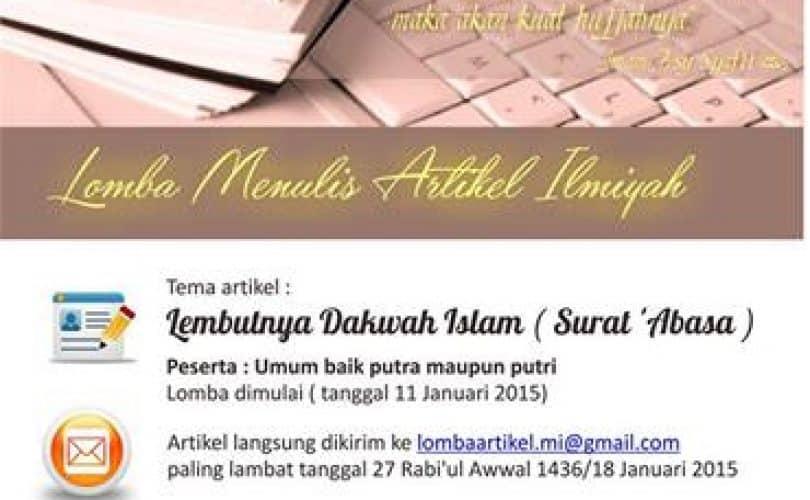 Lomba Menulis Artikel Ilmiah Ma'had Al 'Ilmi Yogyakarta