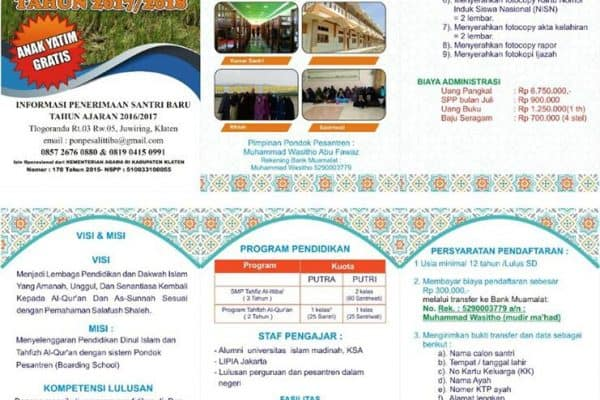 Penerimaan Santriwati Baru SMP Tahfizh Al-Ittiba' Klaten, Jawa Tengah (Tahun Pelajaran 2017/2018)