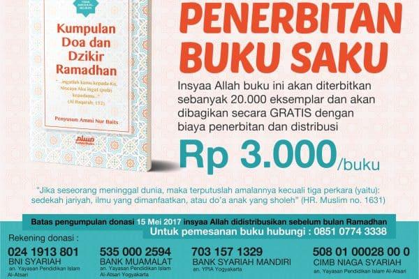 "Donasi Buku Gratis: ""Doa dan Dzikr Ramadhan "" 1438 H sejumlah 20.000 eksemplar"