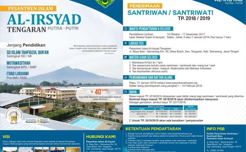 Pendaftaran Santriwan/Wati Baru TP. 2018/2019