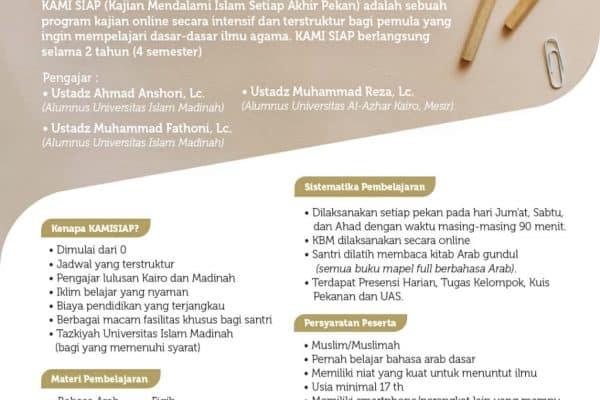 Pendaftaran Santri Baru KAMI SIAP (Kajian Mendalami Islam Setiap Akhir Pekan