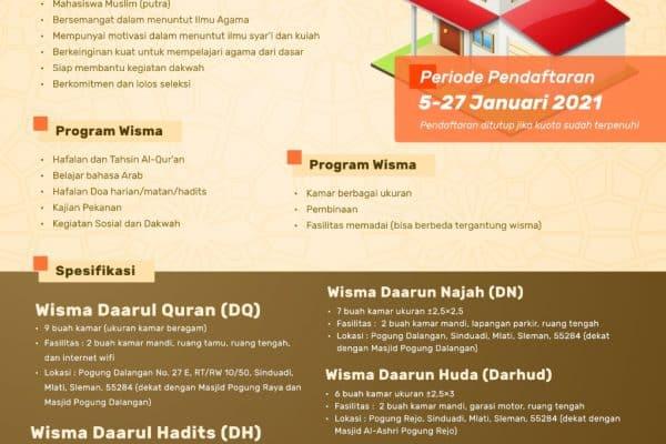 Dibuka Pendaftaran Wisma Muslim Gelombang ke 2 Angkatan 2020/2021